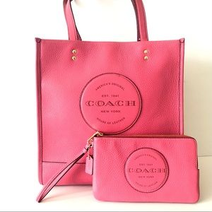 Coach Dempsey Tote Pink Leather Purse Wallet Set